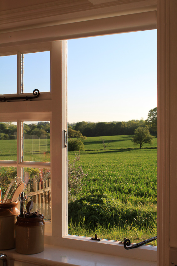 kitchen view to field at 9 hill cottage