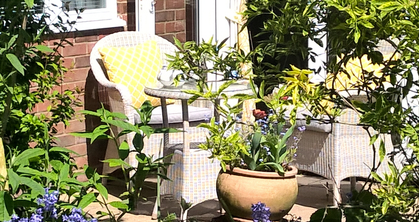 summer garden at Little Furrows holiday home