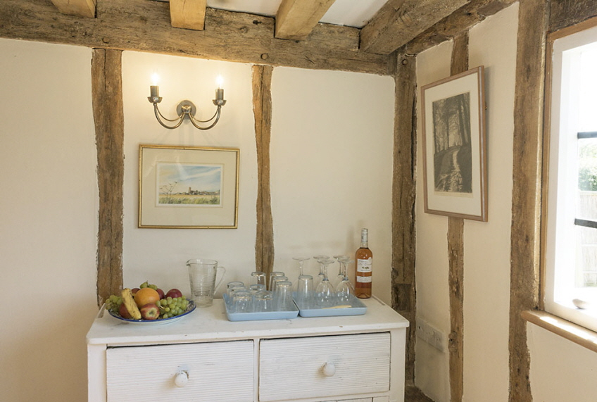 Leman cottage corner of kitchen with beams