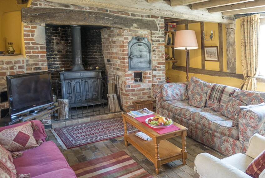 Cosy living room at Leman Cottage, Suffolk