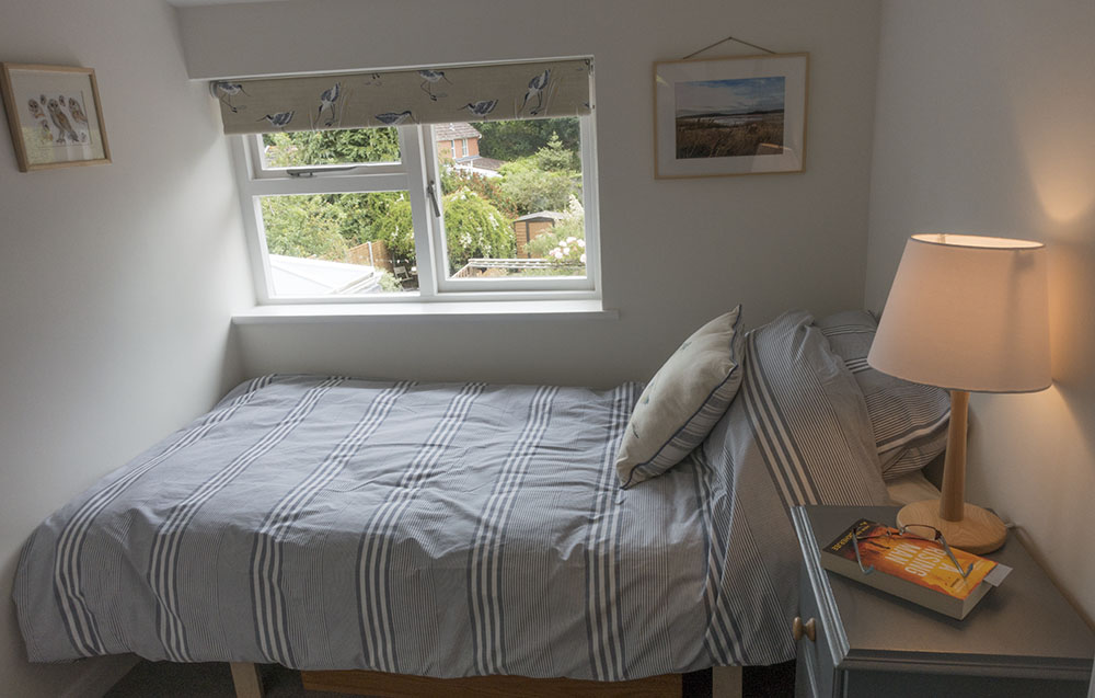 Single bedroom at Eva's holiday cottage, Suffolk